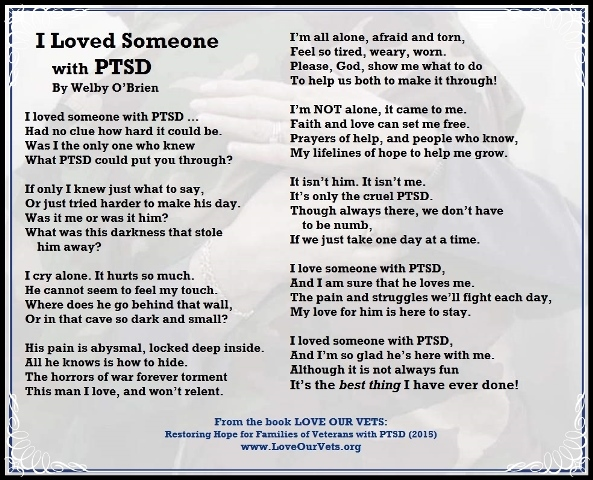 "PTSD: ""I Loved Someone With PTSD"" Poem-Love Our Vets"